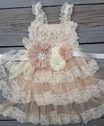 lace flower dress champagne flower dress shabby chic