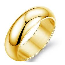 mens gold wedding band steel ring men women gift wholesale stainless steel 7mm wide