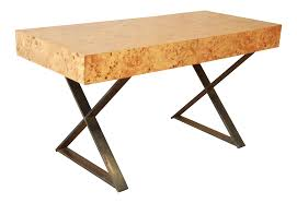 milo baughman burled olive wood campaign desk chairish
