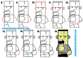 how to draw cartoon frankenstein u0027s monster from