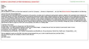 medical assistant offer letter