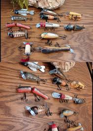moose r us set 12 antiqued wood fashion fish lure