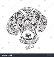 handdrawn dog ethnic floral pattern coloring stock vector