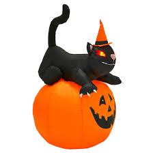 giant 4ft inflatable light up pumpkin black cat halloween outdoor