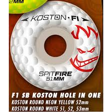 formula 4 spitfire spitfire f1 sb koston hole in one white skateboard wheels