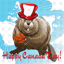 smiling beaver in holiday hat with maple leaf vector clipart image