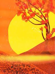 red yellow sun sunset warm orange tree drawing painting