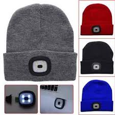 knit hat with led lights unisex 4 led lighting hat winter warm knitted sport cap hunting