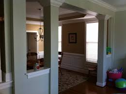 half wall with columns and bookcase the half wall and