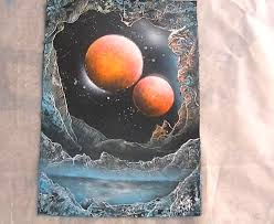 Spray Paint Artist - spray paint art looking up from a planet hole by abtheartist on
