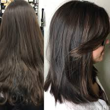 balayage dark hair lob haircut dark brown hair chocolate brown