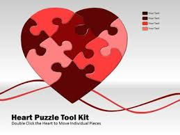 heart design for powerpoint heart puzzle piece tool kit a powerpoint template from