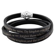 black prayer bracelet images Men 39 s stainless steel lord 39 s prayer wrap leather bracelet 6 5mm