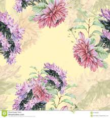 seamless pattern with beautiful spring flowers and plants stock