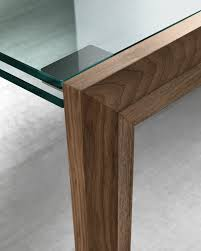 Glass Rectangular Dining Table Contemporary Dining Table Walnut Glass Rectangular Lapsus