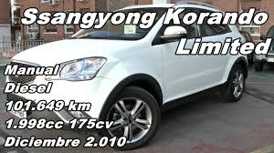 ssangyoung korando limited manual diesel 101 649km 175cv en