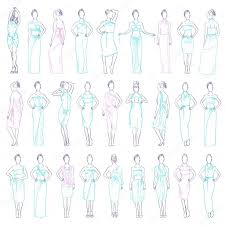 vector illustration various evening dresses set and casual clothes