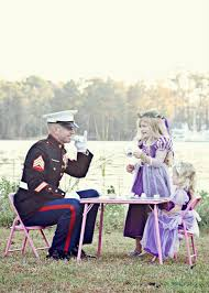 Awn Camp Lejeune Marine Having A Tea Party With His Daughters Usmc