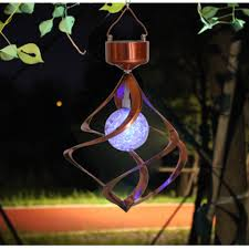 solar color changing hanging wind spinner led light lamp for courtyard