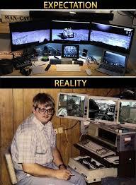 Meme Monitor - triple monitor expectation vs reality pcmasterrace