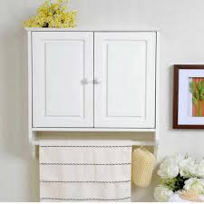 Furniture White Wooden Small Bathroom Corner Wall Cabinet With by Bathrooms Design Bathroom Wall Cabinet With Towel Bar Shelf