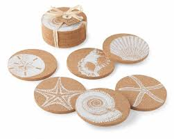 cork coasters mud pie shell printed cork coasters set of 6 chunky cork