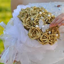 wedding flowers leeds 2015 new bridal gold wedding bouquet wedding decoration artificial
