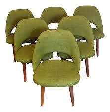 eero saarinen green tweed executive chairs set of 6 chairish