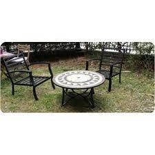 table et 4 chaises salon de jardin table basse ronde 4 chaises filae aspect fer forgé