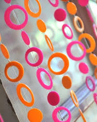Beaded Curtains With Pictures 6 U0027 Beaded Curtain Pink And Neon Orange Retro Circles That