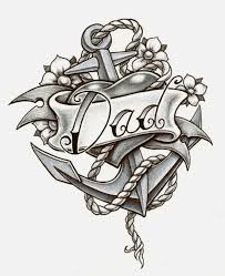 anchor with flowers and dad banner tattoo design by cbader