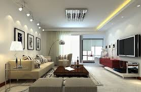minimalis living room design trends with recessed lighting and tv