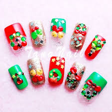 3d 2015 christmas french nails art cute 2015 christmas french