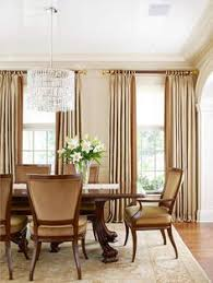 Dining Room Drapes Neutral Curtain Panels Hung High For 10 Foot Ceilings Living