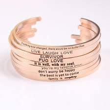 rose gold stainless steel bracelet images Rose gold stainless steel engraved inspirational quote bracelet jpg