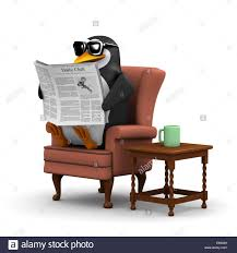 3d render of a penguin sitting in a comfortable chair reading the