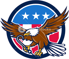 Blue Flag Stars In Circle Illustration Of An American Bald Eagle Clutching Towing J Hook