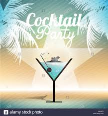 cocktail party invitation poster vector illustration stock