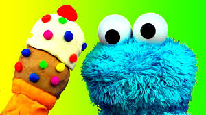 sesame street halloween background play doh ice cream cone surprise cookie monster loves ice cream