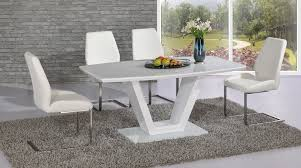 table and 6 chair set full white glass high gloss dining table 4 chairs homegenies