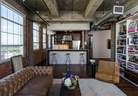 furniture contemporray industrial living room with long brown