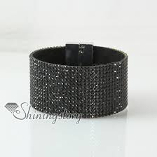 leather crystal bracelet images Leather crystal rhinestone snap wrap slake bracelets fashion jpg