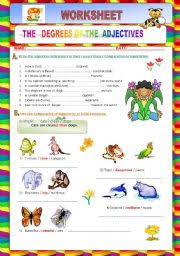 esl kids worksheets degrees of the adjectives comparative superlative