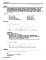 financial analyst cv example for accounting finance livecareer