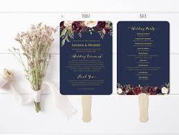 wedding program fans vistaprint 5x7 double sided navy wedding program template