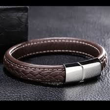 men cuff bracelet images Black brown genuine leather bracelet men stainless steel cuff jpg