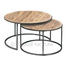 round wood and metal side table side table coffee table set round wood metal industrial