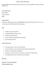 Resume For Bank Teller Objective Head Teller Resume Bank Teller Resume Sample 11 Teller Resumes