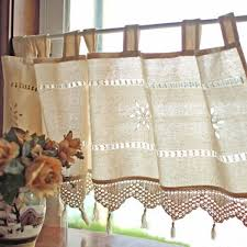 Linen Valance Country Style French Cotton Linen Embroidery Cafe Curtain Home
