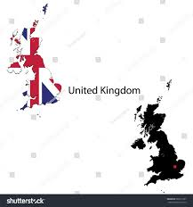 silhouette colored maps flags united kingdom stock vector